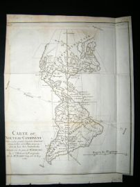 Buffon & Vaugondy 1774 Antique Map. American Continent. USA, Canada etc